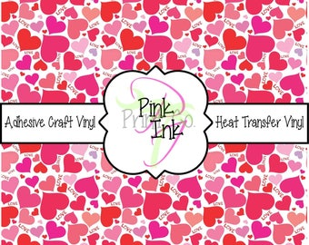Valentine's Printed Vinyl, Heart Patterned Adhesive Vinyl and Heat Transfer Vinyl in pattern 1007