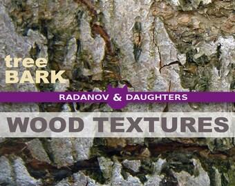 Natural Tree Bark Textures Collage Digital Paper, Printable, Instant Download