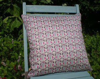 Liberty Fabric Cushion Cover -   'Mauverina' Art Deco Design, Pink and Grey -TO CLEAR