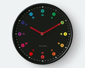 Learning clock + daily planner rainbow color colorful minimalist with text indicating time