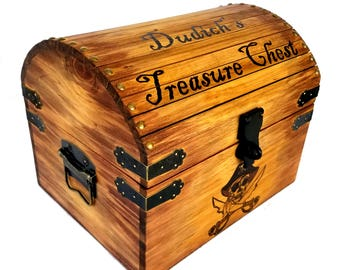 Large Treasure Chest / Personalized Wood Burned Pyrography