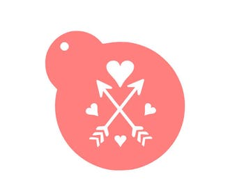 Hearts Arrows Cookie Stencil, Heart Cookie Stencil, Arrow Cookie Stencil, Heart Fondant Cookie, Arrow Fondant Cookie, Heart Sugar Cookie