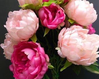 Silk peony bouquet, Wedding, silk flower floral arrangements. pink/peach