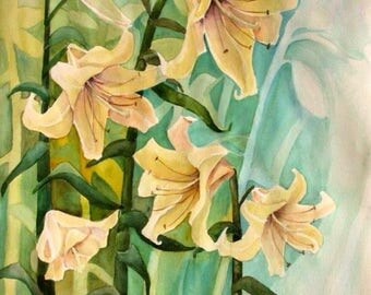 Floral painting - lily watercolor painting, original art