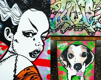 Custom Graffiti Art Canvas Original Painting For Yourself or A Gift For A Loved One (up to 6' x 6')