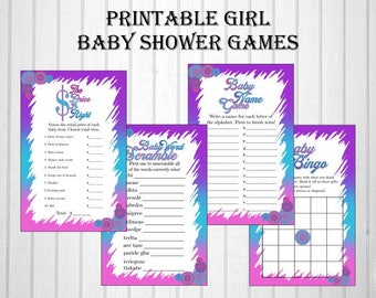 Pink, Purple, & Blue It's A Girl Baby Shower Game Pack, It's A Girl, Baby Bingo, Baby Name Game, Baby Word Scramble, Price is Right