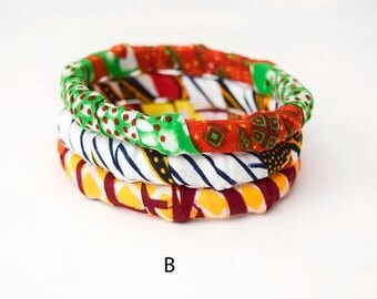SUMMER SALE 3 Handmade African Fabric Bangles, Handmade Bangles, African Print Bangles, African Bracelets, Bracelets Africains, African Prin