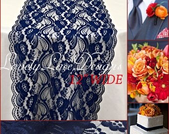 New NAVY BLUE Lace/Table Runner/3ft 11ft Long X12in Wide/Wedding
