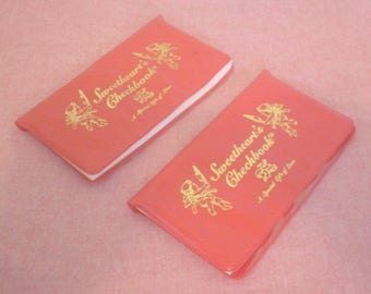 Vintage Lot of 2 Sweetheart's Checkbook Make keeping your promise fun and exciting for anything your heart desires World of Love