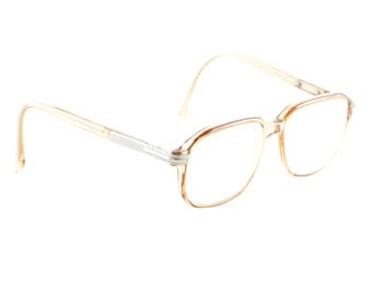 Vintage oversize eyeglasses German frame brown transparent glasses 70s