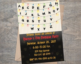 Halloween Spooky Birthday Party Costume Event Stranger Things Creepy Upside Down Printable Invitation