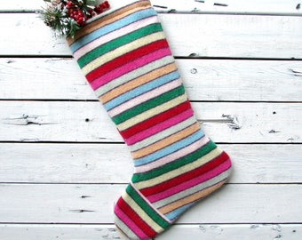 Knitted christmas stocking, knit christmas stocking, knit christmas stockings, sewn from a vintage sweater, multi color stripe