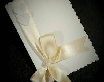 50 wedding invitations handmade double-cardboard-double satin ribbon-customizable
