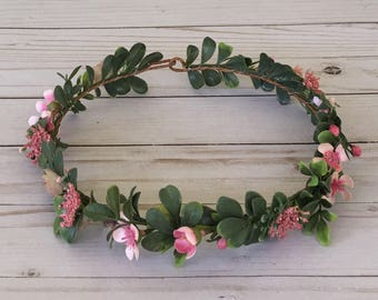 Adult Pink Flower Crown, It's a Girl Flower Crown, Rustic Pink Flower Girl, Pink Shower Flower Crown, Maternity Photo Shoot Flower Crown