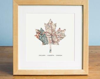 Canada Maple Leaf Map - Map of Calgary, Calgary Alberta Map, Maple Leaf, Canada Map, Gift for Canadian