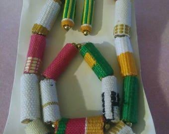 Woven Kente Bead Jewelry Set (Necklace, bracelet and earrings)