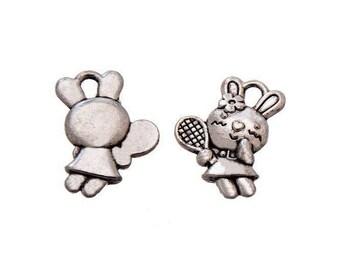 5 Silver Bunny charm