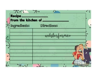 Printable Recipe Cards-Camper- Happy Camper- Retro Recipe Cards-Retro Housewife- Digital Prints- Quirky Gift- Pink- Glamping