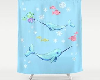 Narwhal Shower Curtain - Arctic Animals - Light Blue - snow, undersea, ocean, fish, colorful, kid's cute bathroom decor