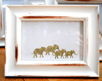 Indian elephants picture frame  vintage style 10 x 15cm