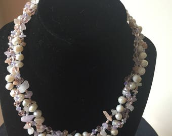 Pearl, Blush Pink and Mauve Necklace