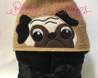 Pug hooded towel
