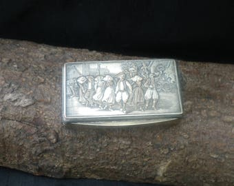 French Antique Vintage Silver Plated Trinket Box