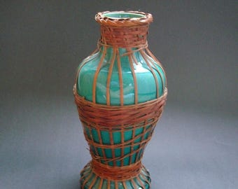 AWAJI POTTERY Vase Japan Japanese Rattan Wrapped 1920s
