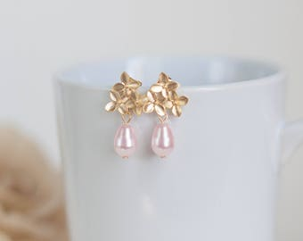 Pink and gold earrings - gold bridesmaid earrings - Gold cherry blossom earrings - pearl earrings - flower earrings - gold pearl earrings