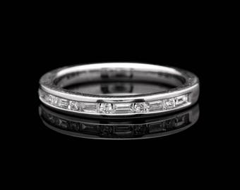 Sparking Channel Set Baguette and Round Diamond Wedding Band in White Gold