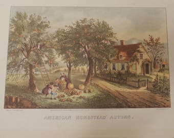 """American Homestead Autumn """" Currier & Ives, 1869"""