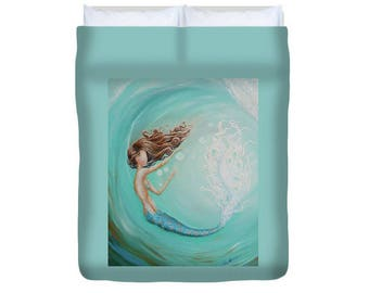 Mermaid aqua duvet, mermaid bedspread, mermaid bedroom decor, original mermaid art by Nancy Quiaoit.