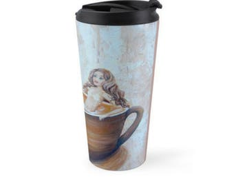 Mermaid travel mug, insulated stainless steel mermaid mug drink holder, mermaid humor coffee cup, Original art by Nancy Quiaoit.