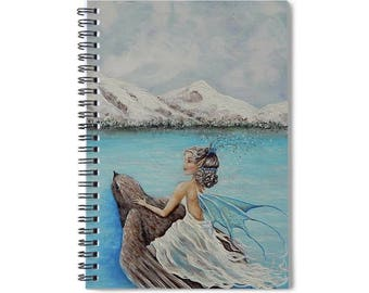 Fairy lined spiral writing journal, winter fairy blank lined book, fairy lovers gift.  Original art by Nancy Quiaoit.