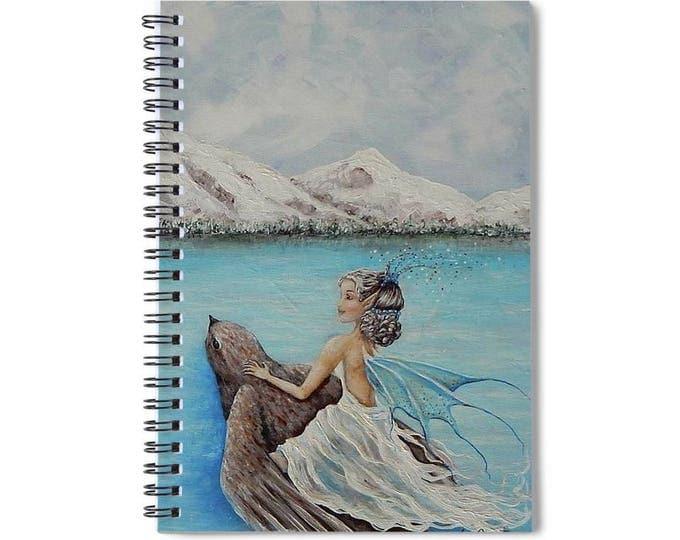 Fairy lined spiral writing journal, winter fairy blank lined book, fairy lovers gift.  Original art by Nancy Quiaoit.