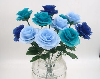 Blue Silk Flower Roses with 15.7'' Stems,Fake Artificial Silk Rose Bush Bouquet,Wedding Aisle decoration,Centerpieces,Navy Blue Turquoise