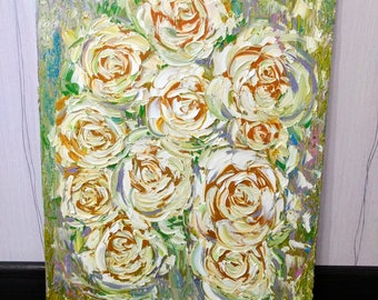 FREE SHIPPING Original abstract flower oil painting on canvas Roses painting Shabby chic painting Shabby chic decor Pallet knife painting