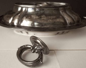 Antique Sheffield/Vegetable Tureen Serving Tray/Silverplate on Nickel Server