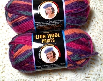 Lion Wool Prints Autumn Sunset Discontinued Two Skeins