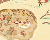 Sugar Plum Christmas Mice by Heather Ross for Windham Fabrics - 1/2 Yard