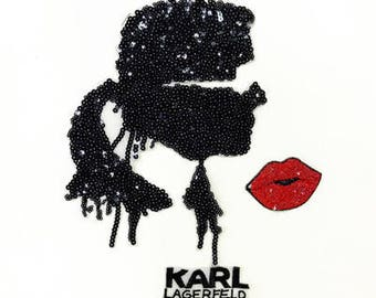 Cool girl n kiss sequins patch vintage embroidered applique