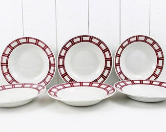 Antique ceramic plates - French vintage plate, Soup bowls, Geometric pattern, Red transferware, Red Kitchen Decor, Ironstone Plates E470
