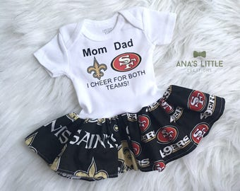 Custom House Divided Football Bodysuit Dress ( Saints - 49ers)  I Cheer For Both Teams!