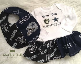 Custom House Divided Football Bodysuit Dress and Bib ( Raiders - Cowboys ) I  cheer for both! 2pc Set Raiders- Cowboys