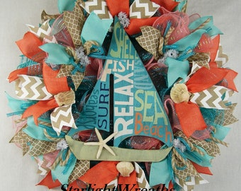 Sailboat Ruffle Mesh Wreath, Summer Wreath, Beach Wreath, Summer Decor, Beach Decor, Seashells