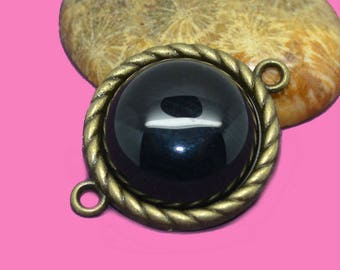 20mm black Agate flat back cabochon