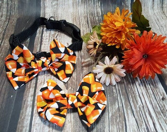 Fall Candy Corn Dog Bow Tie