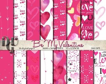 "GREAT SALE Valentine's Digital Paper ""Be My Valentine"" pink, fuchsia, white, black Paper Pack, scrapbook papers, 16 papers digital backgroun"