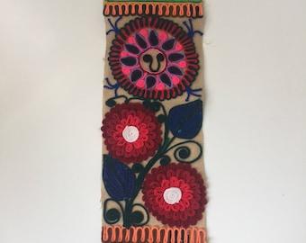 Vintage Mexican Yarn Art Banner Colorful Folk Art 1970s