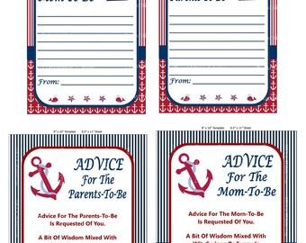 Nautical Advice For Mom, Nautical Advice For Parents, Baby Shower Advice For Mom Cards, Printable Nautical Game - Printables 4 Less 0062